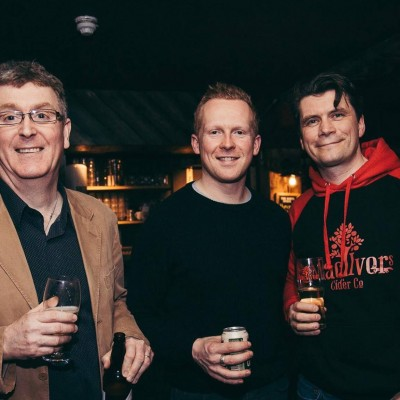 At The Dirty Onion Boilermaker menu launch are Stephen McKenna, Tim Herron and Greg MacNeice at The Dirty Onion.