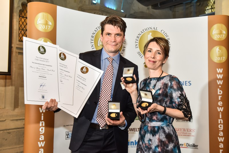 Greg MacNeice of Mac Ivors Cider Co with his wife Ali celebrating three gold medals in the International Brewing and Cider Awards at the Guildhall in London this week. SDP3642-0531