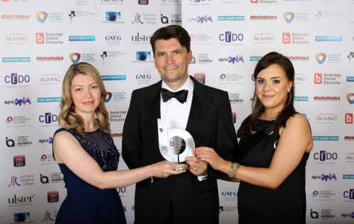 Greg Mac Neice and Sarah McNally, right, picking up the Best Export Business Initiative at the ABC Business Awards. 22 June 2017 - Picture by Darren Kidd /Press Eye. Armagh City, Banbridge and Craigavon Borough Council host the ABC Business Awards ceremony in association with principal sponsor, Almac.