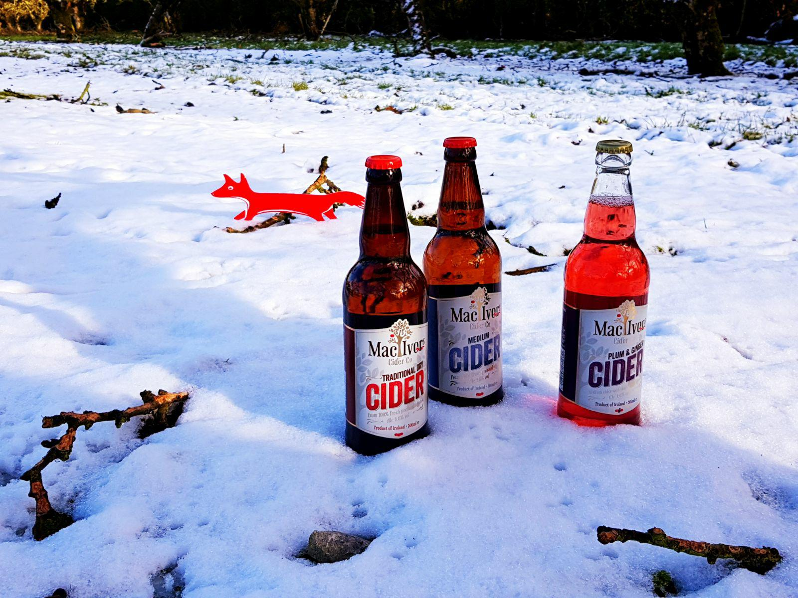 Irish cider in the snow at Mac Ivors Cider Co orchards